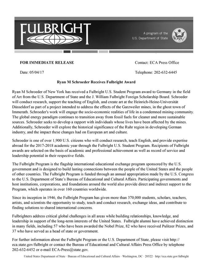Ryan M Schroeder Receives Fulbright Award