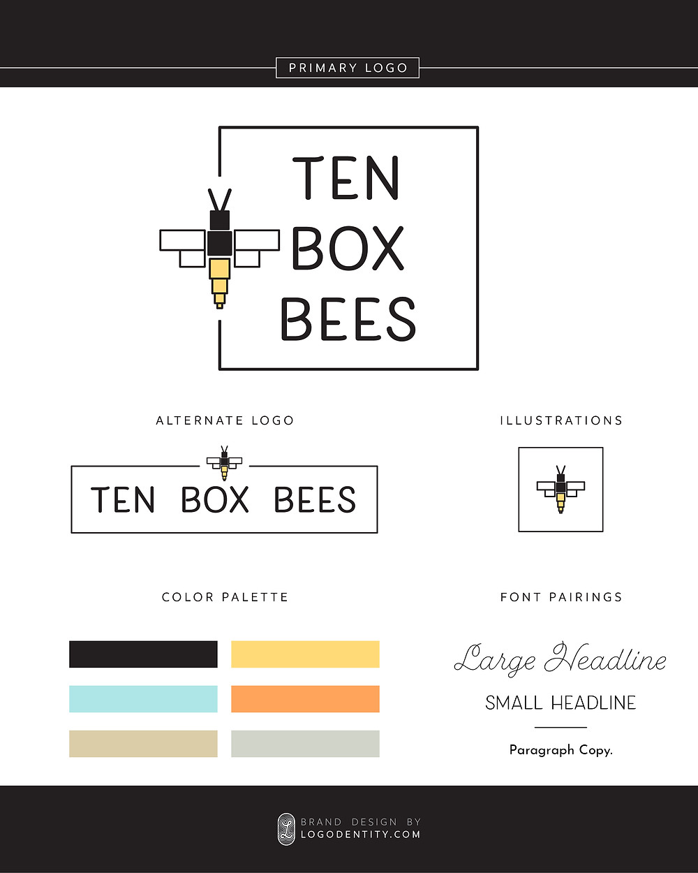 Ten Box Bees Mini Brand Style Guide by Logodentity