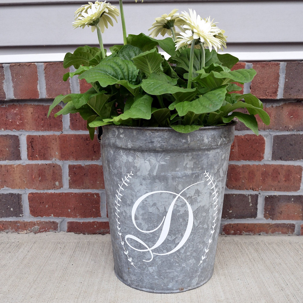 Upcycled Galvanized Metal Bucket with Personalization by Oak Knoll Creations