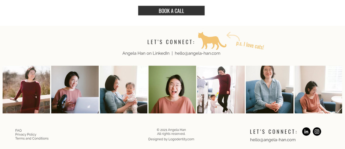 Angela Han's Website Footer Design by Ashley at Logodentity