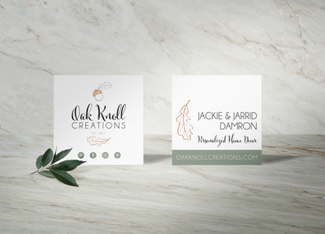 Square Business Cards designed for Oak Knoll Creations