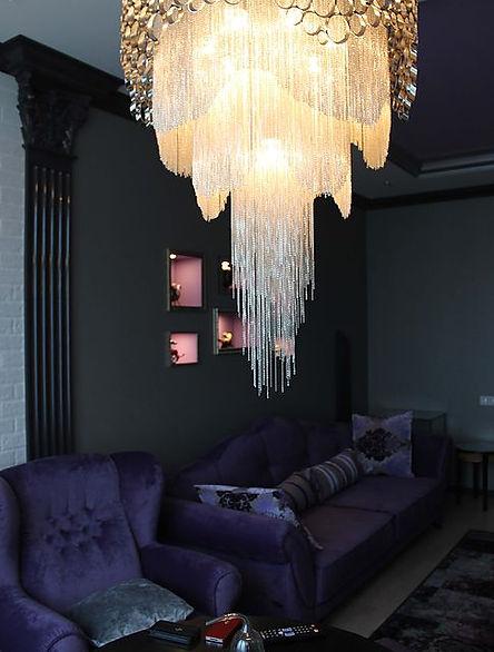 дизайн интерьера ардеко,фиолетовый цвет