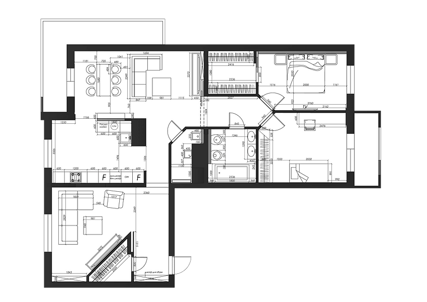 план 4 комнатной квартиры в жк скайфорт, перепланировка