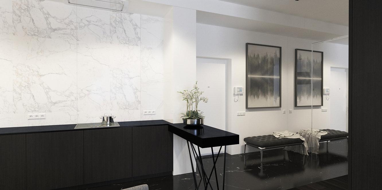минимализм, черно белый интерьер