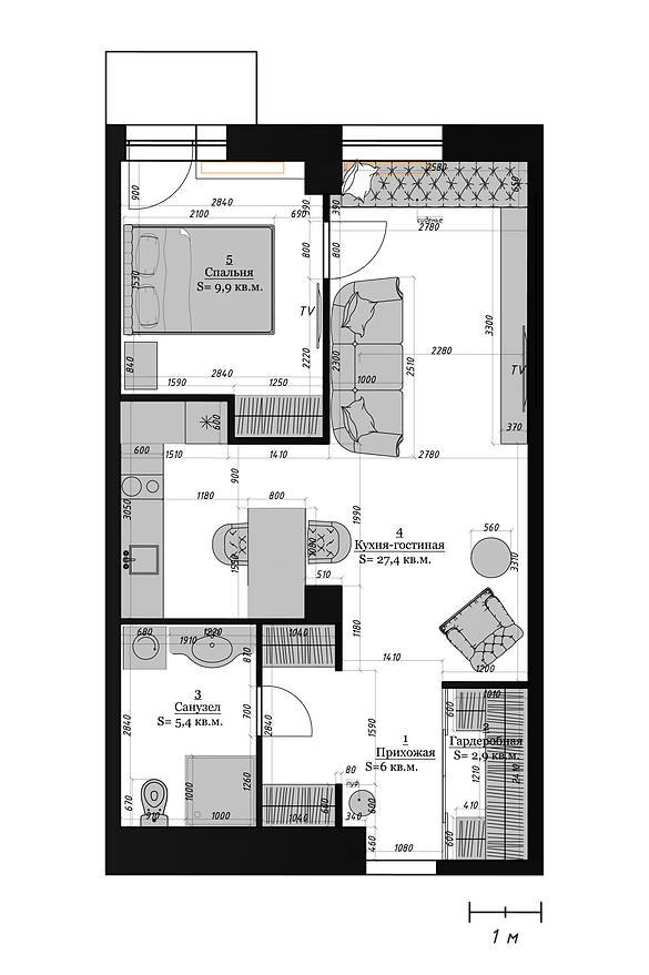 ЖК REFORM пеерпланировка однокомнатной квартиры