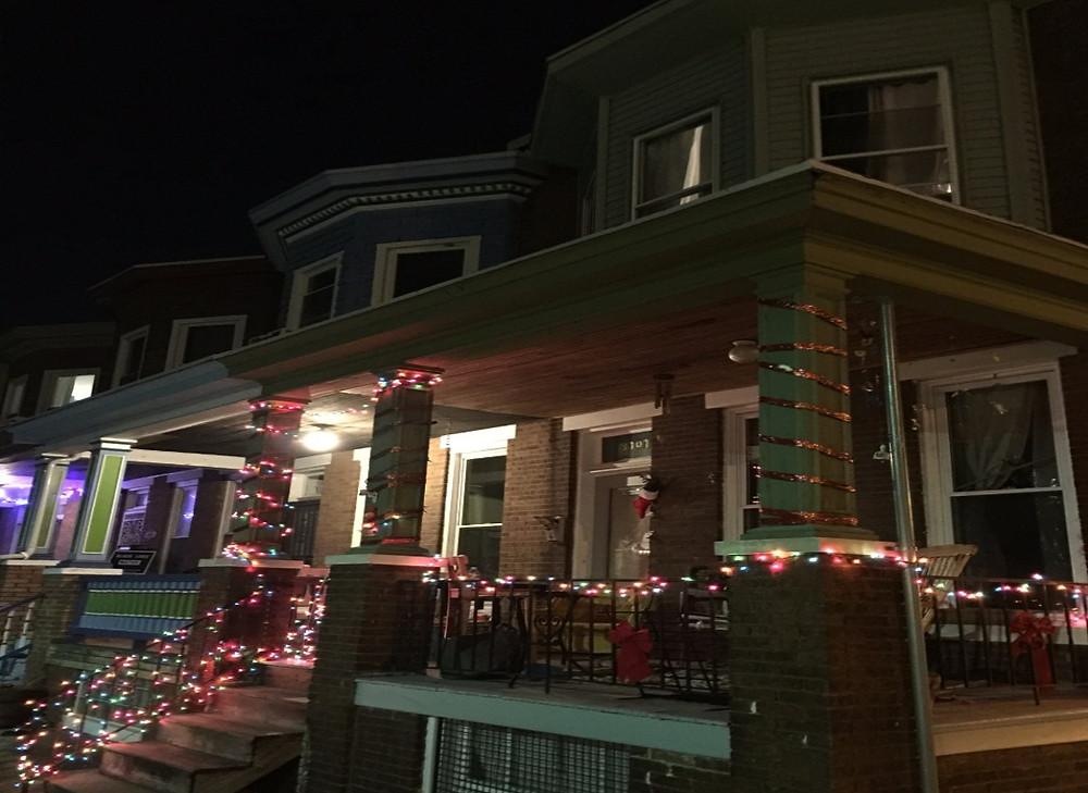 Holiday lights make the neighborhood sparkle
