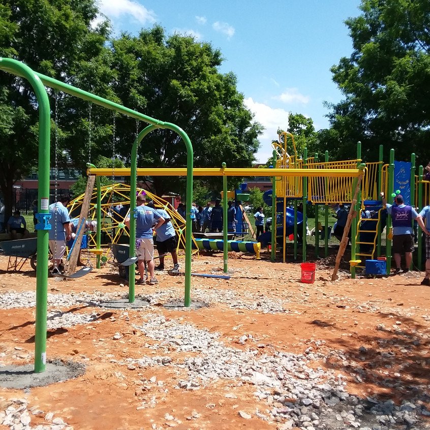 Securing the play structures in cement