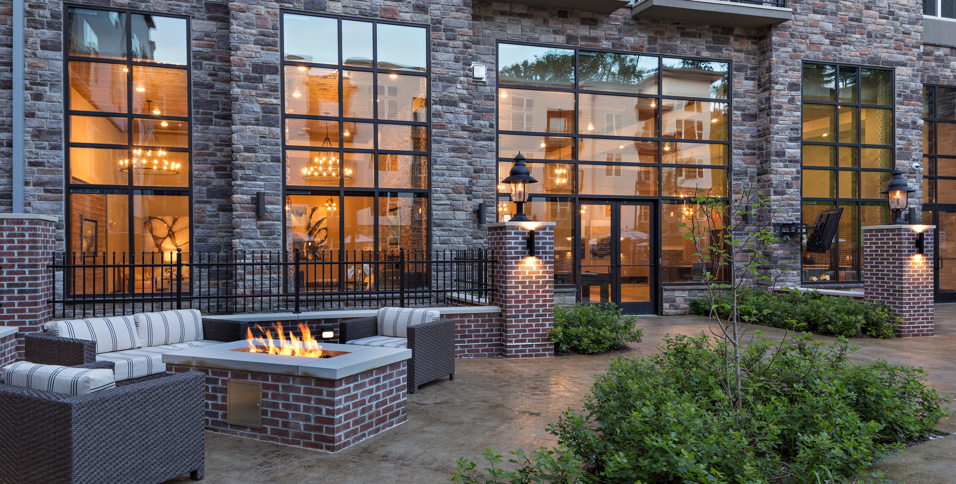 Outdoor Firepit Lit and Building.jpg