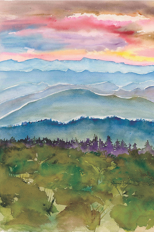 """Blue Ridge Infinity 11"""" x 14"""" giclee watercolor print  matted"""