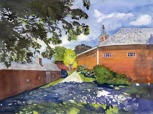 """Shade at the Barns 11"""" x 14""""matted watercolor print"""