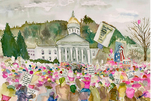 Vermont Women's March - giclee print 8 x 12