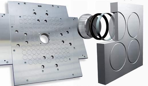 The magnetic poles are integral and active parts of the frame, creating a seamless, homogeneous, and impenetrable steel surface.