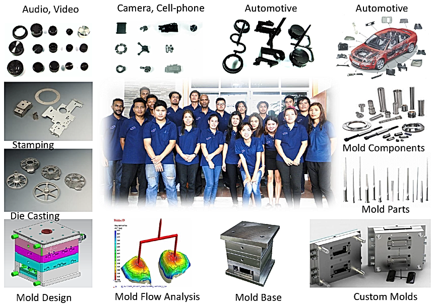 Plastic mold for audio, video, atomotive mold, mold components, mold parts, die casting molds, stamping molds, mold base, mold design, mold flow analysias, PCB, EMS, grey iron casting, extrusion, security lock, toys, blow molding