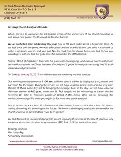 St. Paul Anniversary Letter