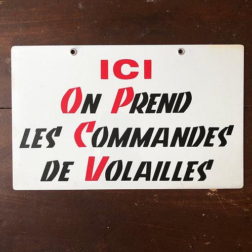 Pancarte Commandes