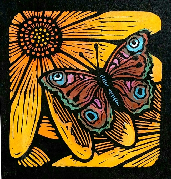 """Brown Moth on Gold Flower"""