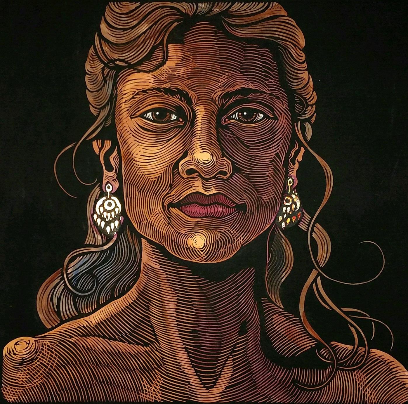 """""""One World - Woman w Gold Earrings"""""""