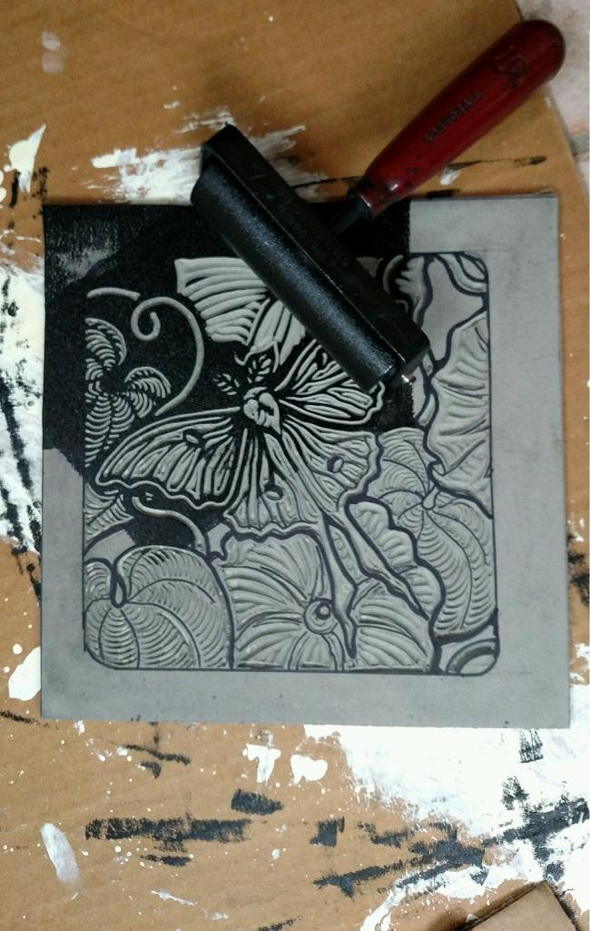 Inking block for final print Lunar Moth - 650 dpi