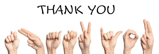 Woman showing phrase Thank You on white