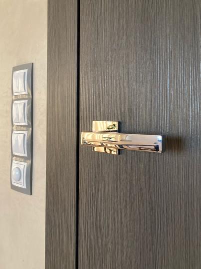 černohnědé dveře a chromovaná klika.jpg