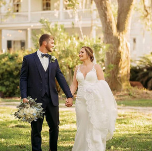 Bride and Groom Enjoy A Romantic Moment On The Grounds