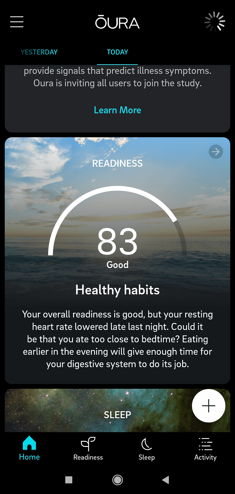 Oura Ring Readiness Summary in Mobile App