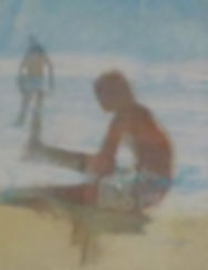 Man and boy on beach image size 13 x 16.