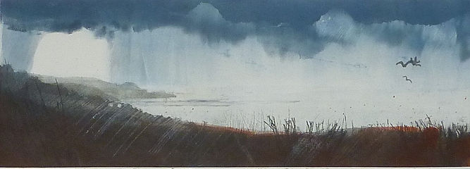 rain over Cudden Point 15 x 42 cm