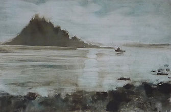 Boat leaving Mounts Bay 28 x 42cm framed