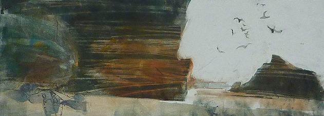winter walk on the beach 15 x 42 cm fram