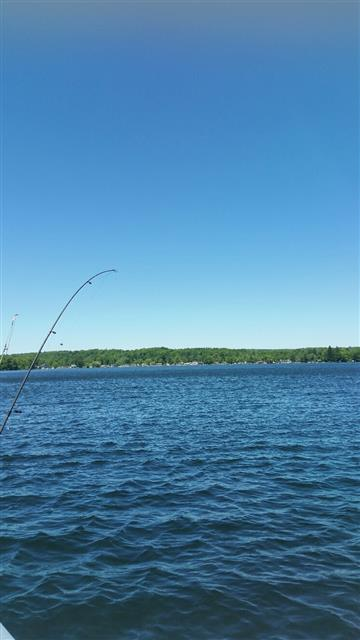 lake with fishing pole