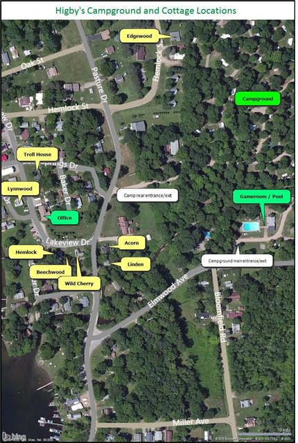 Higby's Campground and Cottages at Canadohta Lake, PA | MAP