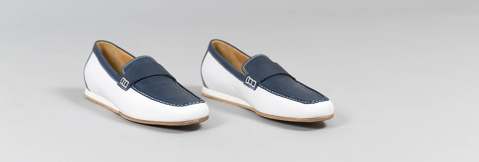 Italian Loafers In Duo Blue White