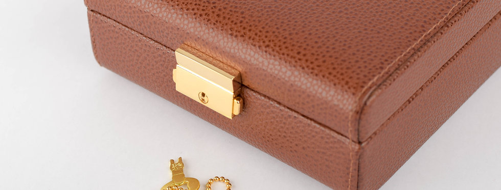 Travel Cufflinks Box In Brown Leather