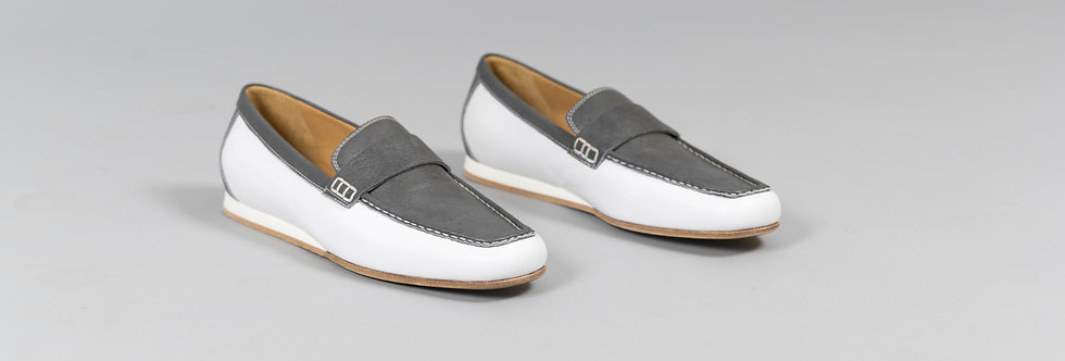 Italian Loafers In Duo Grey White