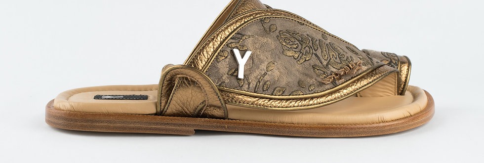 Duo Embroidery Sandal In Gold
