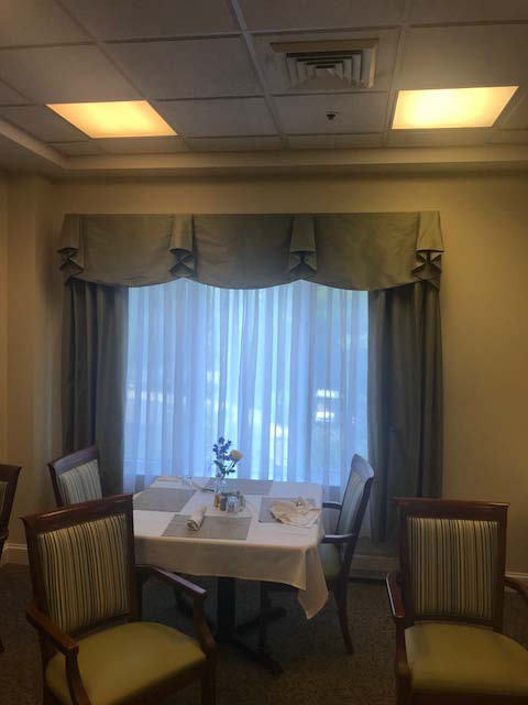 Assisted Living - Private Dining Area Pelmet Valance with Sheers and Overdraperies