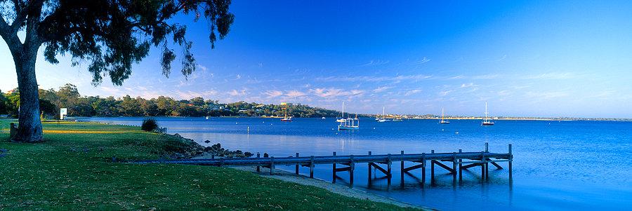 Jetty and boats at Dawesville, Mandurah, Western Australia