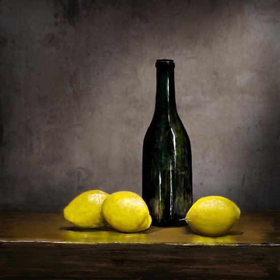 Still Life Photograph of Lemons and a Bottle