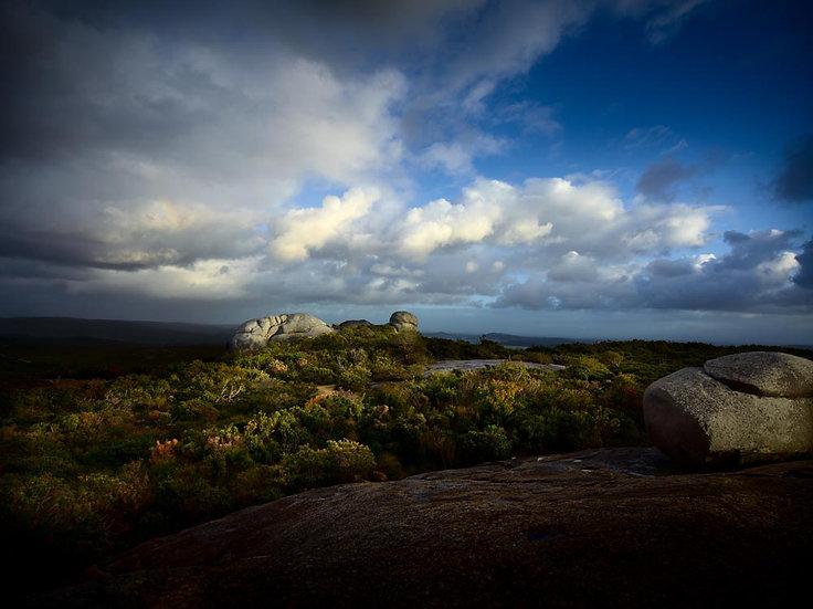 Granite Boulders over coastal bush, South Western Australia