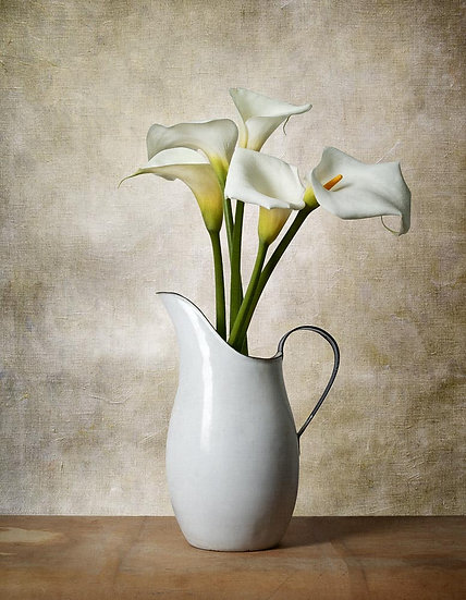 Lillies in an antique water jug.