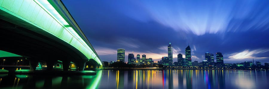 City lights. Narrows Bridge, Perth, Western Australia