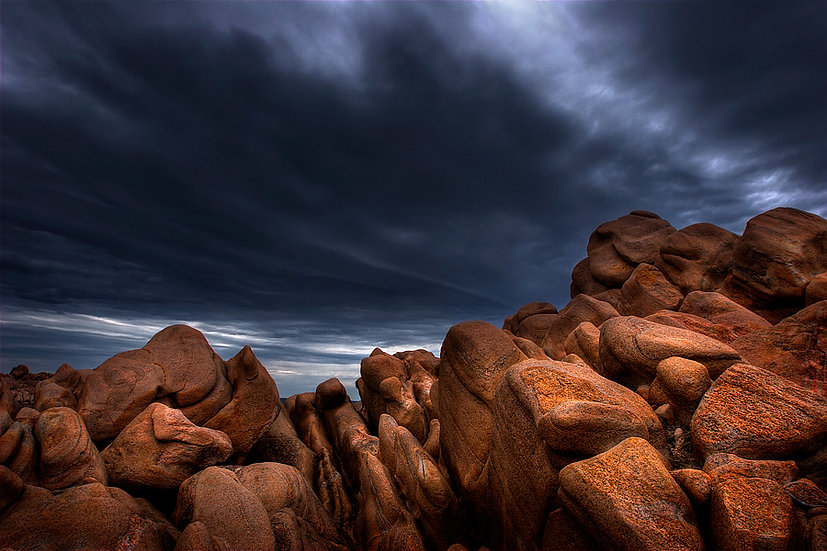 Granite boulders and storm clouds, Cape Naturalise, South Western Australia