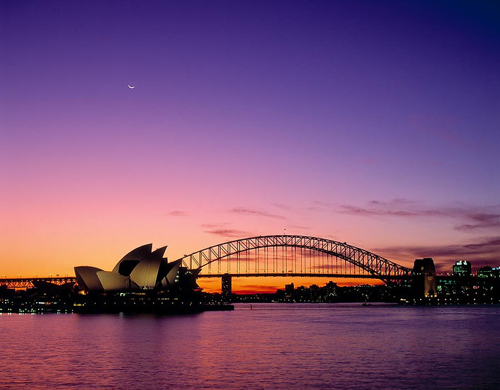 Dusk over the Sydney Harbour Bridge and Opera House, Sydney, NSW, Australia