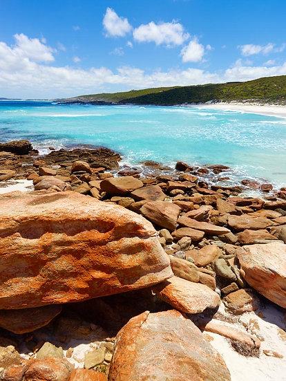 Blue Ocean Water and Granite Beach Coastline, South Western Australia.