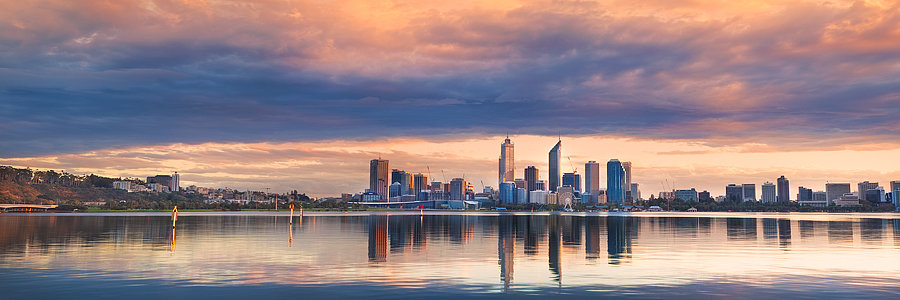 Perth Skyline Sunrise, Western Australia