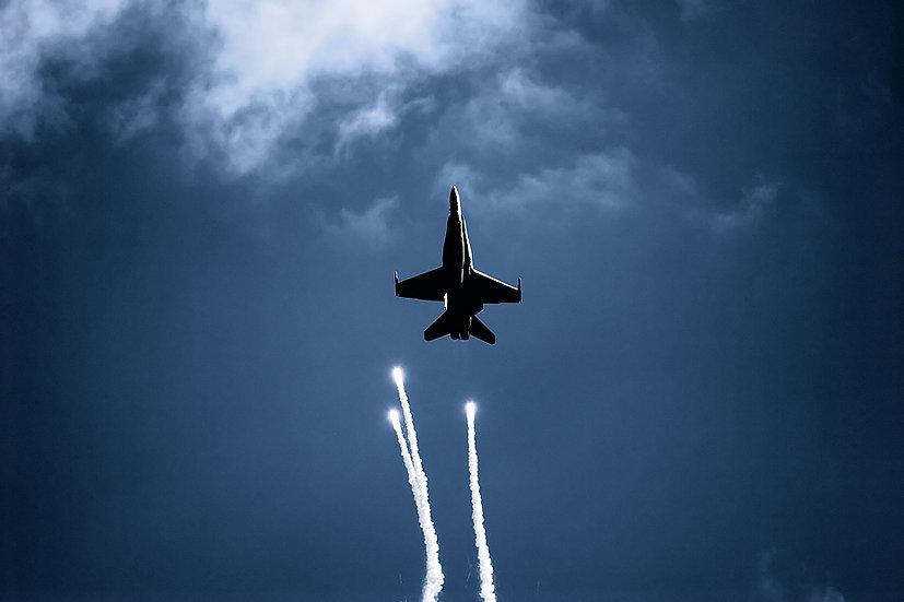 FA-18 Hornet aeroplane.