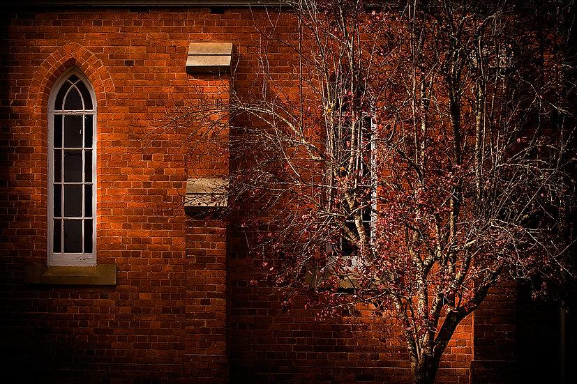 Old historic brick church, Bright, Victoria, Australia