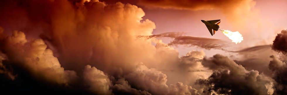 F-111 aircraft, plane amongst the sunset clouds.
