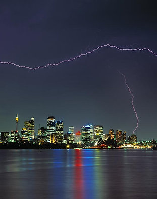 Lightning storm over the city at Sydney Harbour, NSW, Australia